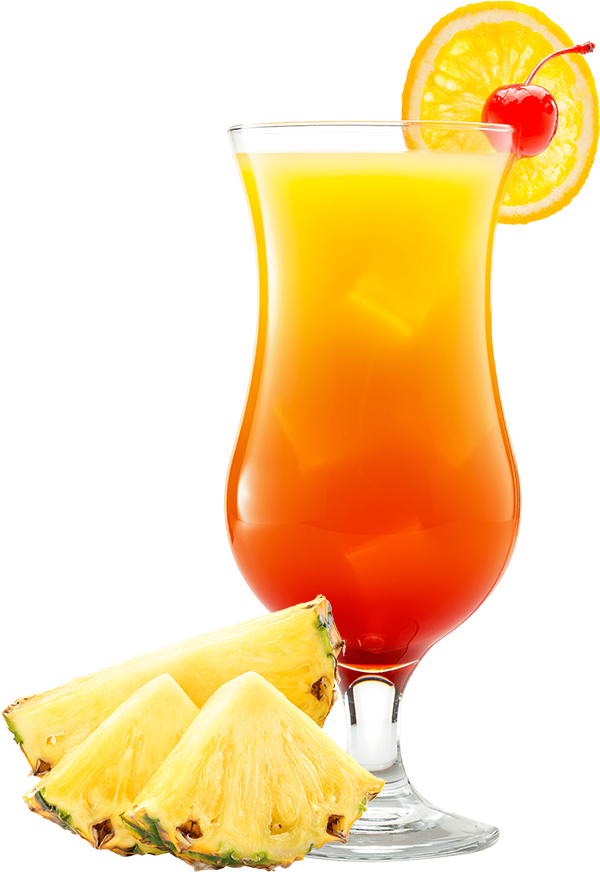 A medium sized cocktail glass filled with orange and yellow liquid